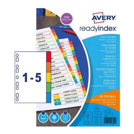 Ready Index Dividers 1-5 (5 part)